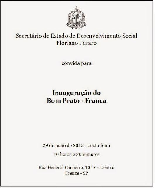 Informação presta: leia os arquivos do blog: CONVITE - Inauguração do Restaurante Bom Prato de ...