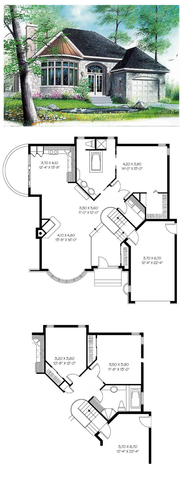 Hillside House Plan 65084 | Total living area: 1208 sq ft,1 bedroom & 1 bathroom. A modified formal entry greets a welcoming layout with dining room, family room with fireplace and kitchen-breakfast area. #hillsidehouse #houseplan