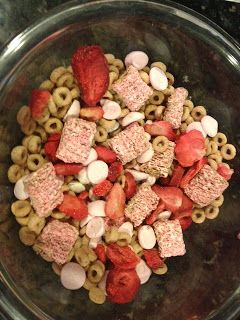 Valentine Snack Mix:  About a cup or so of Cheerios 1/4 cup of strawberry yogurtmelts 1/4 cup of freeze dried strawberries 1/4 cup of yogurt covered raisins A handful of strawberry mini wheats ... Perfect for Toddlers, Kids and Adults!