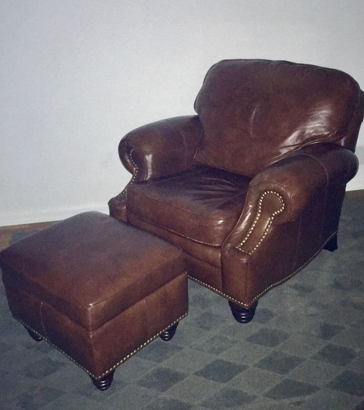 vintage leather club chair with ottoman by wayne philips by on etsy - Leather Chair And A Half