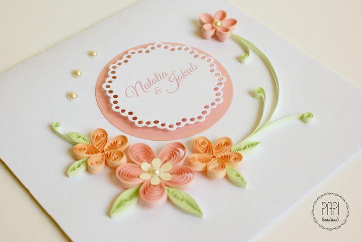 ręcznie robiona kartka na ślub quilling