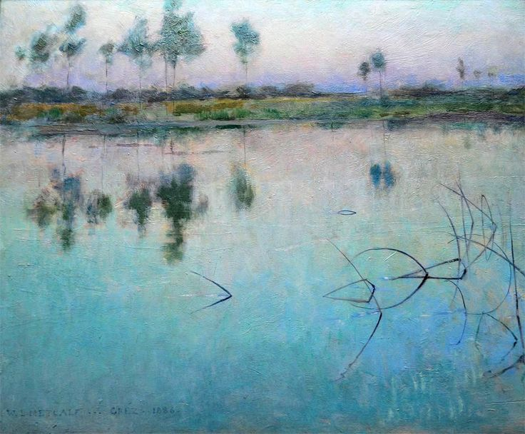 dappledwithshadow:  Reflections at Grez sur LoingWillard Leroy Metcalf 1886 Painting - oil on canvas