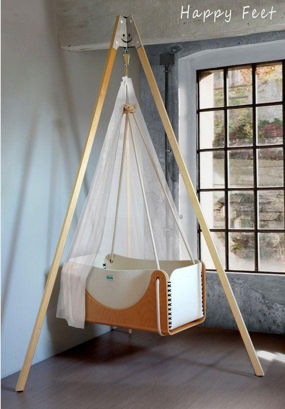 Wood and pure wool felt hanging baby cradle door Woodlyecodesign, €710.00