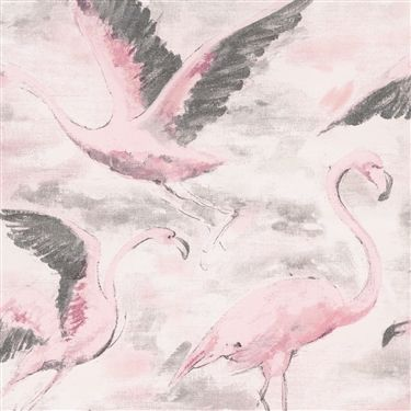 Pink classic Flamingo bird painted modern wallpaper R2724