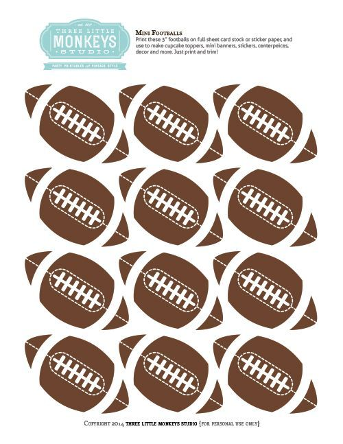 FREE Mini Football Toppers, perfect for a Super Bowl or football party!