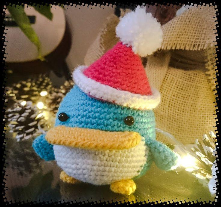 Xmas penguin, crochet amigurumi, softie toy, Christmas gift, penguin plushie by CrochetAga on Etsy