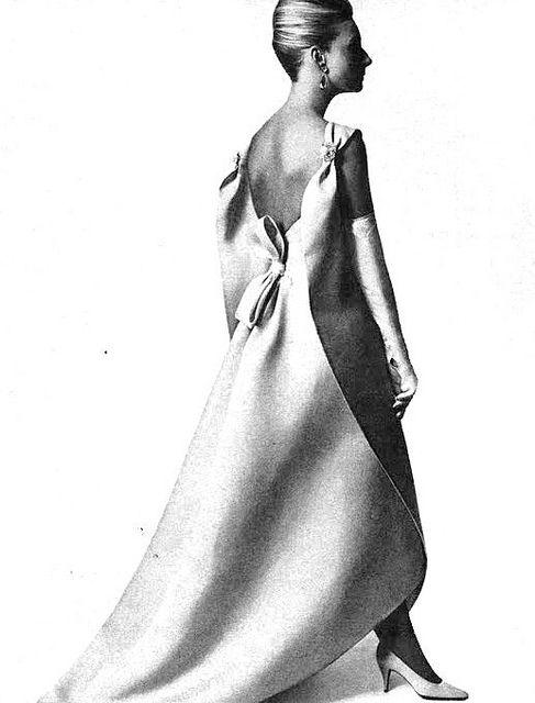 Balenciaga    Model is wearing a Creation of Balenciaga and photographed by Penn.Vogue,October 1965.