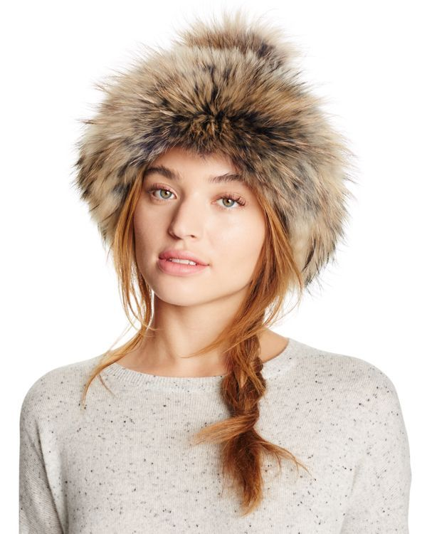 Regina Oversized Asiatic Raccoon Fur Hat with Pom-Pom