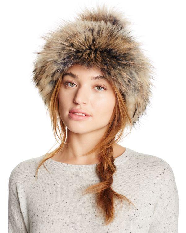 Regina Oversized Asiatic Raccoon Fur Hat with Pom-Pom