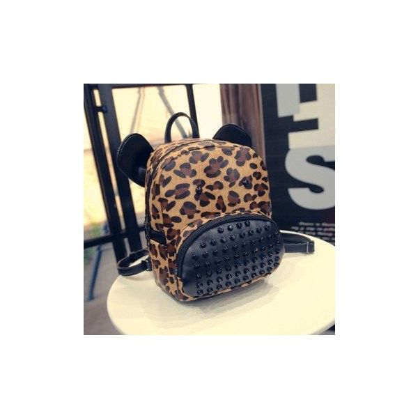 Ms. Shoulder Bag Leisure Leopard Backpack Campus Students Style... ($19) ❤ liked on Polyvore featuring bags, backpacks, leopard grain, animal backpack, shoulder bag backpack, leopard print backpacks, patterned backpacks and animal print bags
