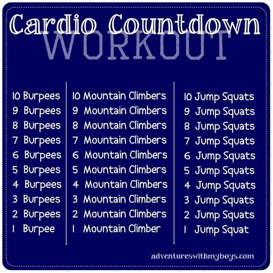 cardio workout...just did it and I feel like I want to die!! It works!!