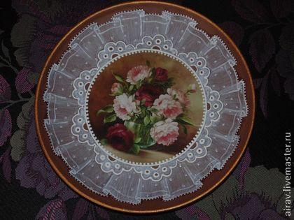 "Тарелка ""Кружевной букет"" - коричневый,Тарелка декоративная,тарелка настенная"