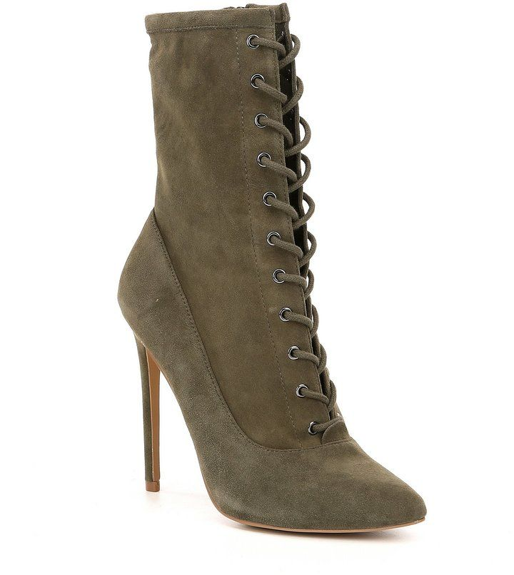 Steve Madden Satisfied Suede Lace Up Dress Booties
