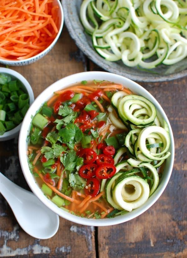 Spicy Asian Chicken Zoodle Soup | A Cedar Spoon | Bloglovin'