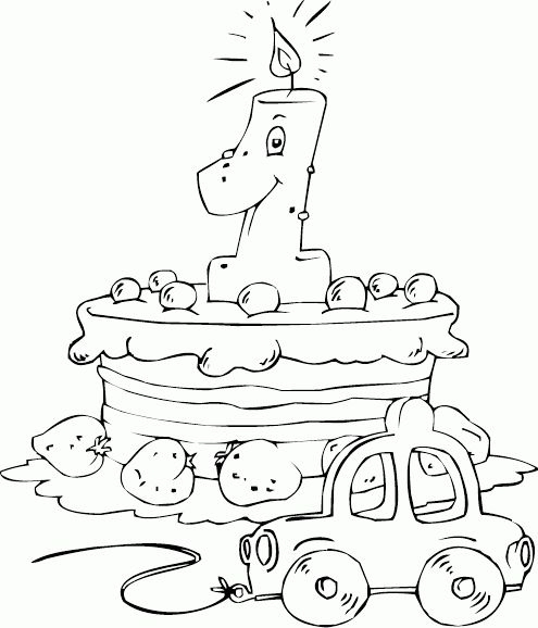 birthday cake age 1 coloring page - coloring.com