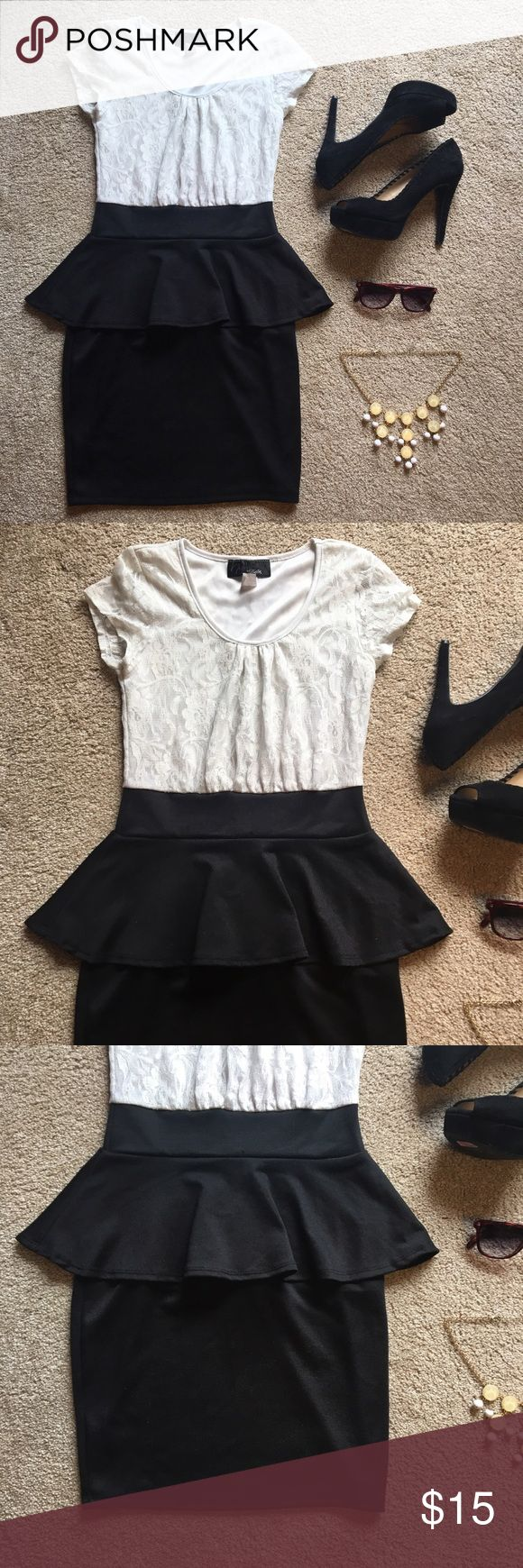 Classy Black and White Peplum Dress with Lace Classy black and white peplum dress. The top part is white lace and the bottom part is a black peplum skirt. If you are also interested in the necklace, I can tag you in that listing. Hypnotik Dresses Mini