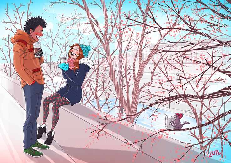 #illustration #draw #girl #boy #couple #valentine #day #love #fun #bird #trees #paris #colorful #blog #lupe #lupegranite