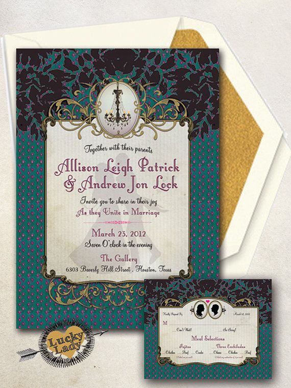 victorian silhouettes ornate framed wedding invitation set by Luckyladypaper