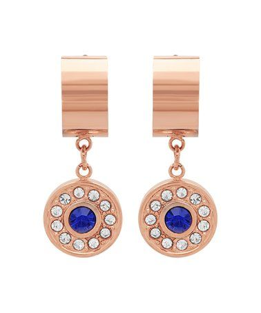 White & Blue Simulated Diamond Disk Huggie Earrings #zulily #zulilyfinds
