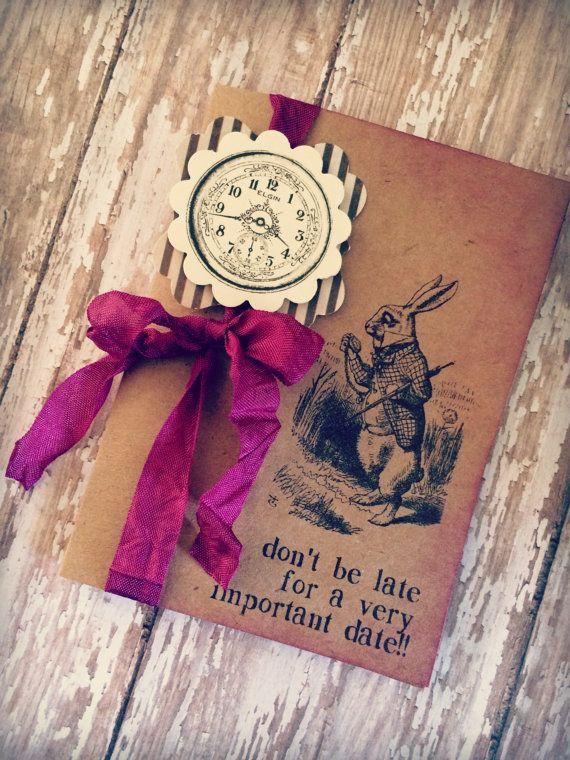 Alice in Wonderland invitations / Mad hatter  / bridal shower