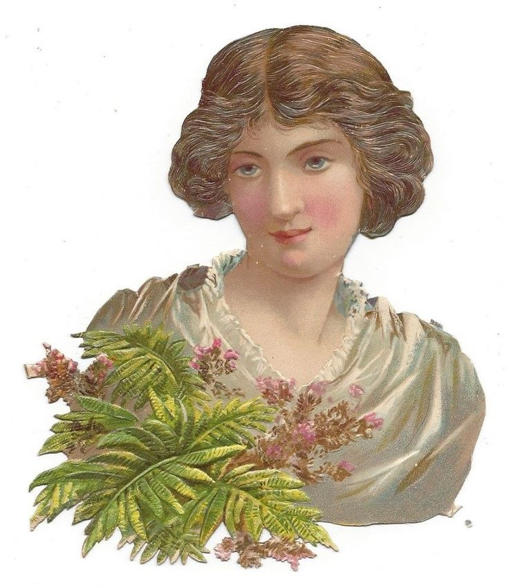 Victorian Die Cut Scrap Lady holding Ferns