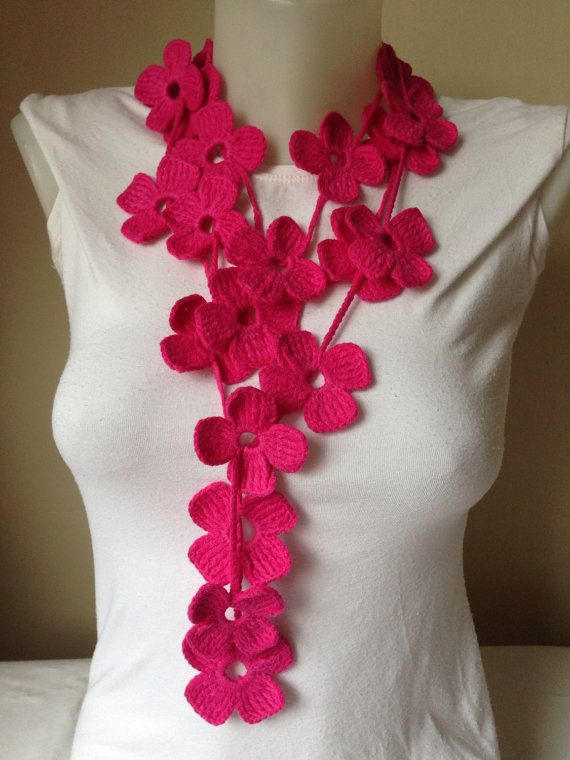 Floral Crochet Scarf in Pink by Yellowcrochet on Etsy