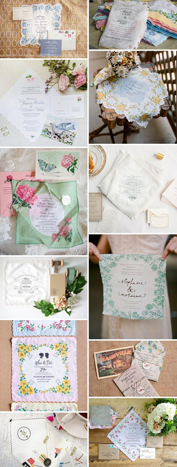 Keep sake Handkerchief Wedding Invitations | See more on www.onefabday.com