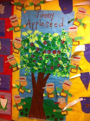 Johnny AppleseedSchools Fal, Apples Pumpkin, Johnny Appleseed Th, Schools Stuff, Bulletin Boards, Fall Apples, Boards Ideas, Apples Theme