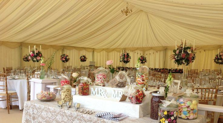 Flower balls in vintage creams and pinks with our gorgeous candelabras which are available to hire with or without flowers