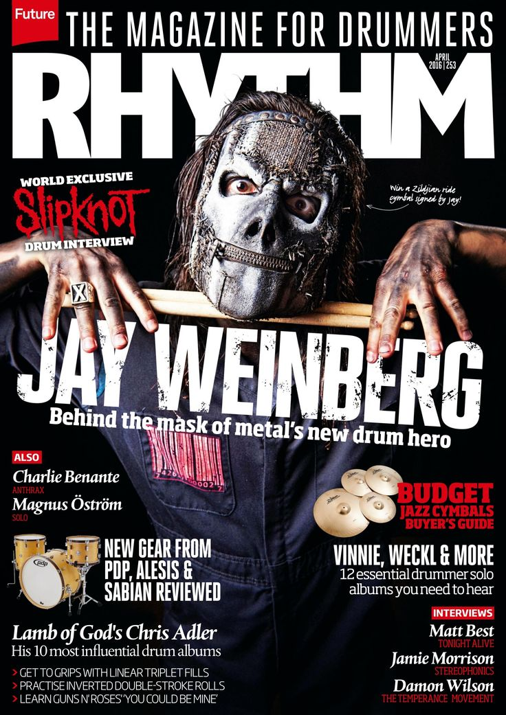 #Rhythm 253, the magazine for #drummers. Jay Weinberg behind the mask of metal's new #drum hero.