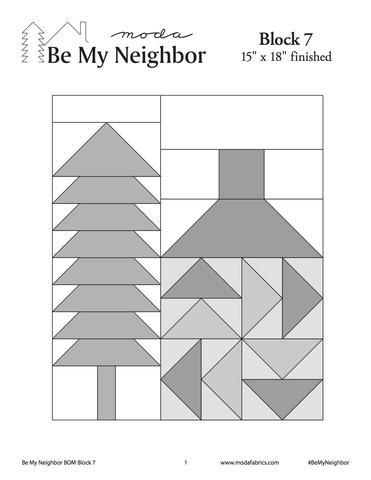 Download the free pattern for Block 7 for the Moda Be My Neighbor Quilt Along at www.mytimelessday.com