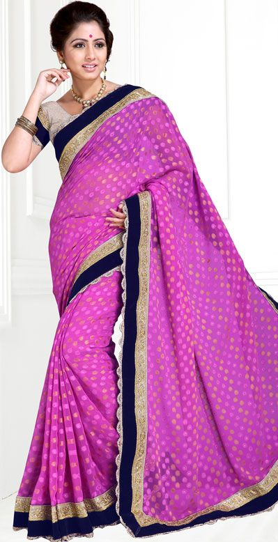 USD 51.2 Violet Georgette Party Wear Saree 42893