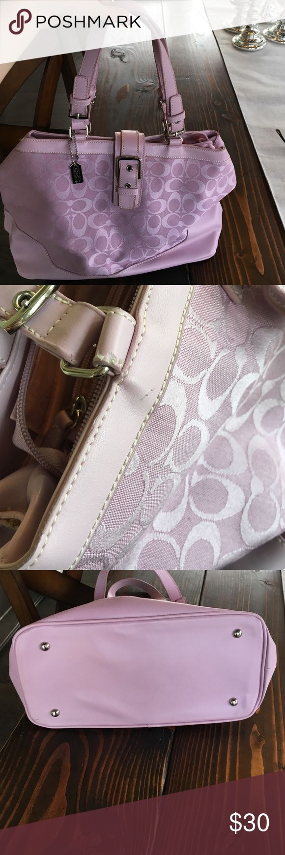 Pink Coach purse Super cute pink Coach purse in great condition. It was maybe worn once. One tiny imperfection which I highlighted but overall very clean. Coach Bags Shoulder Bags