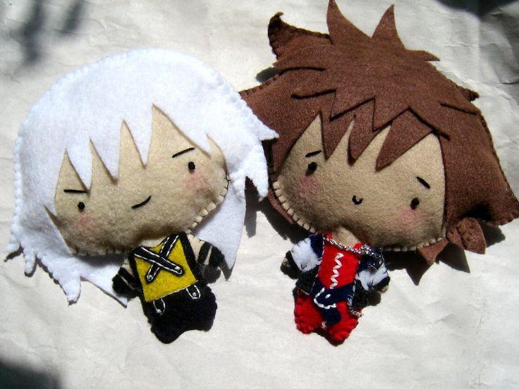Riku and Sora chibi plushies by ~SushiLuvZombie on deviantART