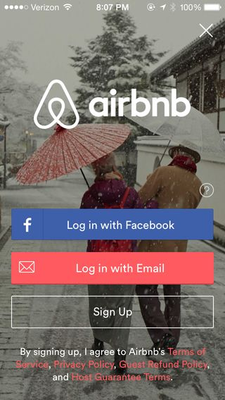 Airbnb modal sign up