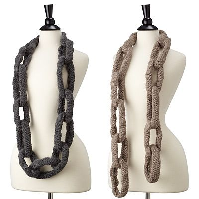 Handmade in Peru; comes with a hook and eye clasp so you can wear scarf traditionally or as a cowl.: Chainlink Scarfs, Crafts Ideas, Knits Scarves, Chain Links, Crochet Patterns, Products, Chains Link, Chains Scarves, Diy Projects