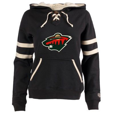 Women's Minnesota Wild Old Time Hockey Black Grant Lace-Up Slim Fit Hoodie