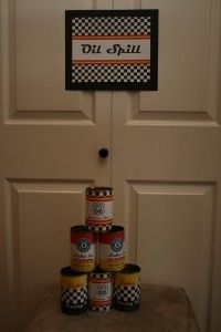 Oil Spill Knock Down the Cans Party Game for Race Car Third Birthday Party