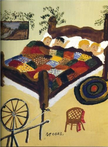 Grandma Moses (1860 - 1961) | Naïve Art (Primitivism) | Waiting for Christmas - 1960