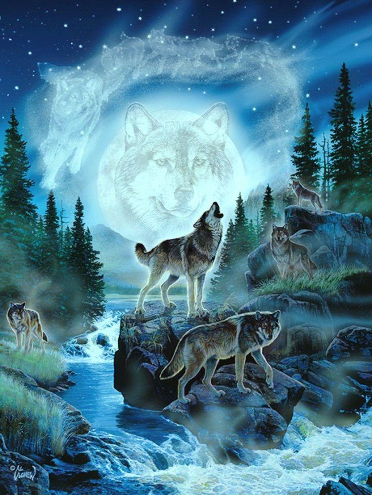 Прикольными надписями, картинки анимация с волками