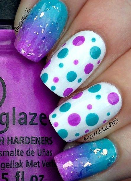 Purple Turquoise Nail Art