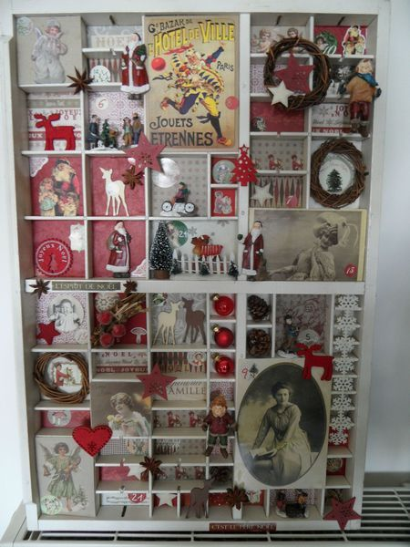 Printers tray made into shadow box Christmas display
