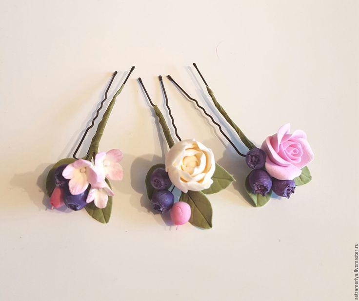 Купить Свадебные шпильки из полимерной глины цветы и ягоды - полимерная глина, полимерная глина deco