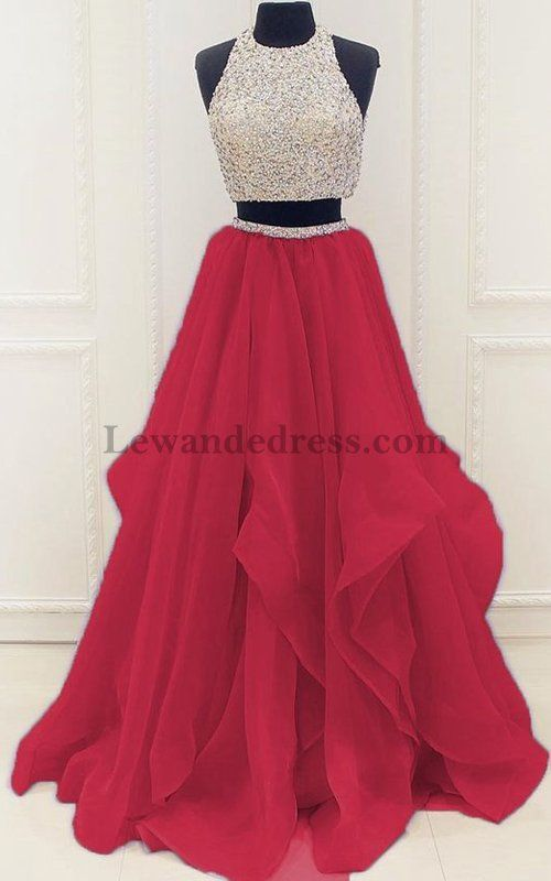 Beaded Two Piece Chiffon Layers Red Carpet Celebrity Gown