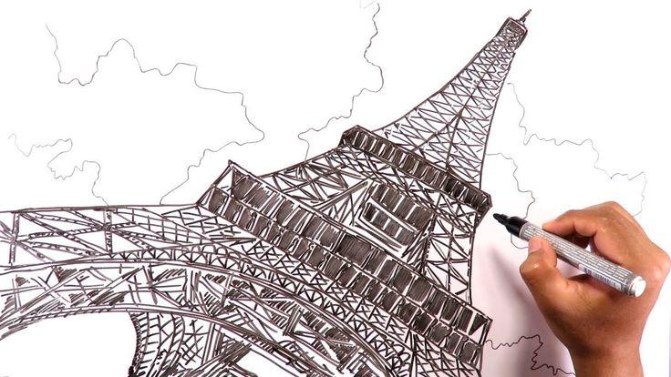 Dibuja la Torre Eiffel de París en Perspectiva desde la base