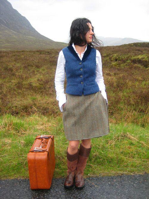 Shiel Waistcoat & Rhu Kilt. Handmade in the Scottish Highlands. www.lornagillies.com Atmospheric, haunting, dreamer inspiration. Outlander. Glencoe. Lady waiting on bus.  Lady leaving.