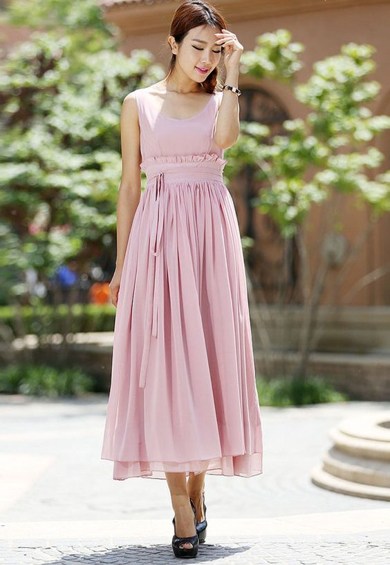 Hey, I found this really awesome Etsy listing at https://www.etsy.com/listing/189114058/pink-chiffon-dress-women-long-prom-dress: