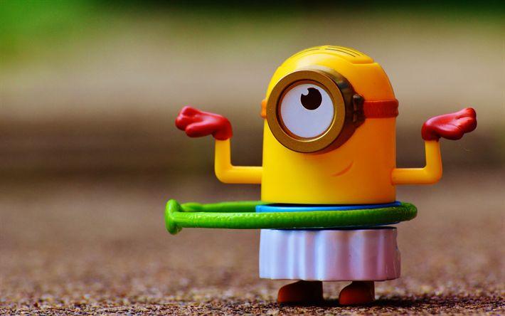 Hämta bilder 4k, Minion, kreativa, leksaker, Favoriter, Dumma Mig, 3d-animation