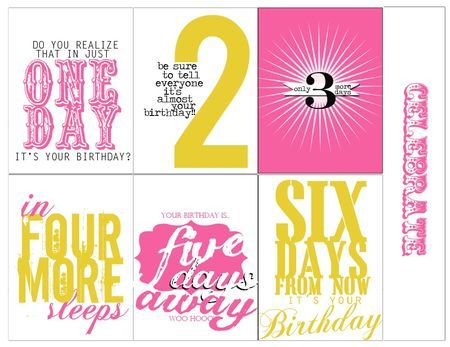 Free Printable Birthday Countdown Cards from Heidi Swapp {also available in black & white}