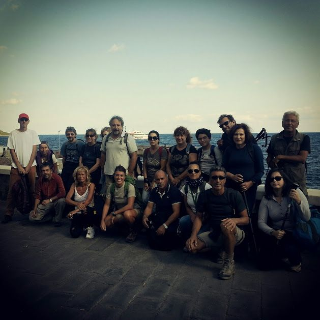 Filicudi, the ancient island. Happy trekkers ready to go! Trekking - Hiking tours guided by biologist, geologist, volcanologist and, sometimes archaeologist. Only with: www.nesos.org